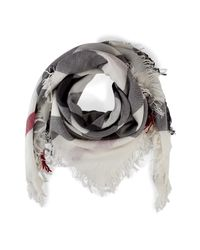 Lyst - Burberry Check Merino Wool Scarf in White 1a03e5fd69