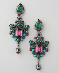 Jose & Maria Barrera | Green Teal Drop Earrings | Lyst