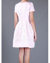 Oscar de la Renta | Pink Flared Lace Overlay Dress | Lyst