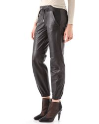 Juicy Couture | Black Leather Track Pants | Lyst