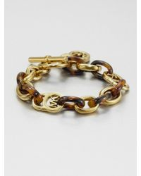 Michael Kors   Metallic Heritage Fulton Tortoise-print Padlock Toggle Bracelet   Lyst