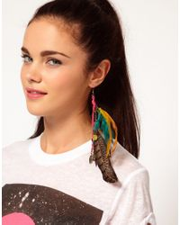 River Island | Multicolor Single Feather and Charm Earrings | Lyst
