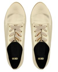ASOS | Gold Moment Metallic Flat Shoes | Lyst