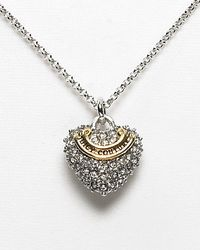 Juicy Couture - Metallic Pave Heart Wish Necklace 15l - Lyst