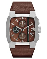 DIESEL | Brown Square Leather Strap Watch for Men | Lyst
