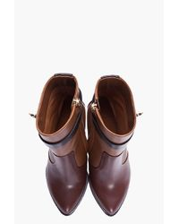 Givenchy | Brown Tricolor Sharklock Wedge Boots | Lyst