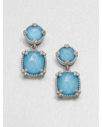 Judith Ripka Metallic Turquoise Doublet Sterling Silver Drop Earrings