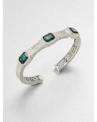 Judith Ripka | Metallic Three Stone Sterling Silver Cuff Braceletgreen Quartz | Lyst