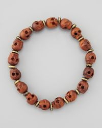 Tai | Brown Wooden Skullbeaded Bracelet | Lyst