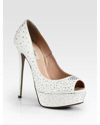 Valentino White Bridal Crystalcoated Satin Platform Pumps