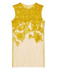 Vera Wang | Yellow Ss Chantilly Lace Tank in Chartreuse | Lyst