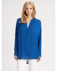 VINCE | Blue Silk Tunic | Lyst