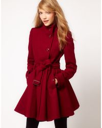 ASOS Collection | Purple Fit and Flare Belted Coat | Lyst