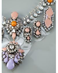 Shourouk - Multicolor Crystal Encrusted Necklace - Lyst