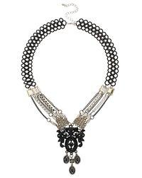 TOPSHOP - Black Deco Chain Necklace - Lyst