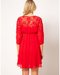 ASOS Red Skater Dress with Lace Top