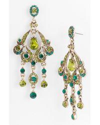 Tasha | Green Chandelier Earrings | Lyst
