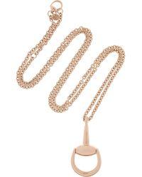 Gucci | Metallic 18-Karat Rose Gold Horsebit Necklace | Lyst