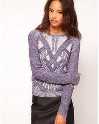 ASOS | Blue Premium Sweater with 3d Plaits | Lyst