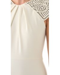 Badgley Mischka White Deco Cap Sleeve Gown