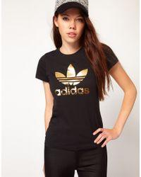 Adidas - Brown Trefoil T Shirt - Lyst