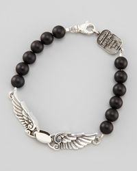 King Baby Studio | Metallic Black Onyx Wing Bracelet for Men | Lyst