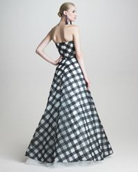 Oscar de la Renta Black Strapless Gingham Gown