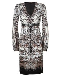 Roberto Cavalli | Black Multi Belted Feather Print Dress | Lyst
