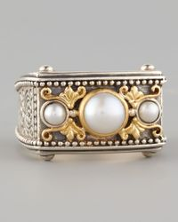 Konstantino | Brown Rectangle Pearl Ring | Lyst
