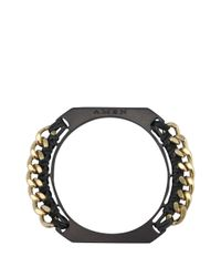 Amen - Black Leather Bangle With Chain - Lyst