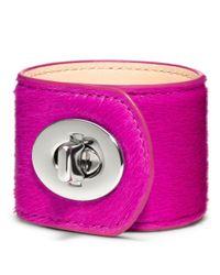 COACH - Purple Large Haircalf Turnlock Cuff - Lyst