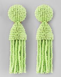 Oscar de la Renta | Green Short Beaded Tassel Earrings  | Lyst