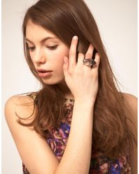 Ted Baker Gray Acrylic 'Youre A Gem' Ring