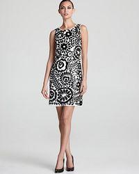 Aidan Mattox Sleeveless Floral Sequin Shift Dress In Black