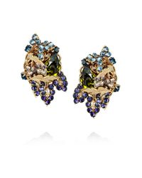 Bijoux Heart Metallic 24karat Goldplated Swarovski Crystal Clip Earrings