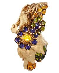 Bijoux Heart Green Sur Leau Goldplated Swarovski Crystal Clip Earrings