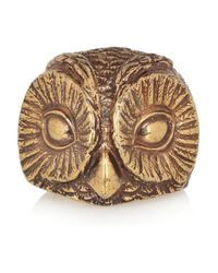 Burberry Metallic Burnished Goldtone Owl Ring