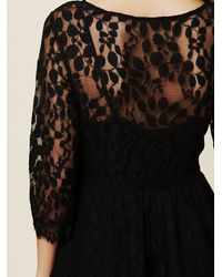 Free People | Black Floral Mesh Lace Dress | Lyst