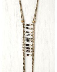 Free People - Metallic Bead Ladder Necklace - Lyst