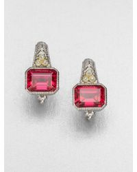 Judith Ripka | Metallic Red Corundum Sterling Silver Cushion Earring | Lyst