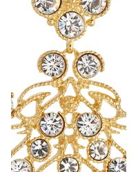 Kenneth Jay Lane Metallic Goldplated Swarovski Crystal Clip Earrings