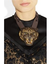 Lanvin - Multicolor Tiger Crystal and Leather Necklace - Lyst
