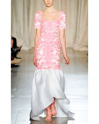 Marchesa | White Embroidered Gazar Gown with Tulip Skirt | Lyst