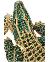 Roberto Cavalli - Multicolor Alligator Goldplated Swarovski Crystal Cuff - Lyst