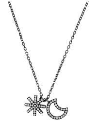 Solange Azagury-Partridge Metallic Moon and Star 18karat Blackened Gold Diamond Necklace