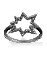 Solange Azagury-Partridge Metallic Big Bang 18karat Blackened White Gold Diamond Ring