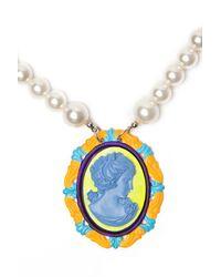 Tom Binns - Blue Cameo Jobim Pearl Necklace - Lyst