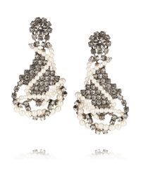 Tom Binns - White Regal Rocker Swarovski Crystal and Crystal Pearl Earrings - Lyst