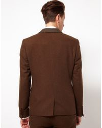ASOS Asos Skinny Fit Suit Jacket in Brown for men