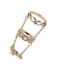 TOPSHOP | Metallic Three Finger Baroque Ring | Lyst